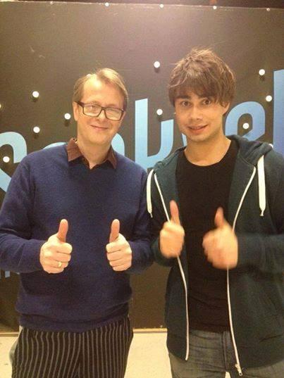 """Alexander Rybak and Lars Lillo-Stenberg in """"Senkveld med Thomas og Harald"""""""